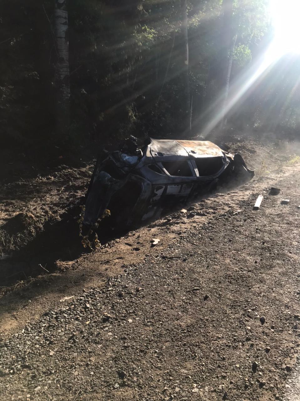 Под Вологдой машина съехала в кювет и загорелась, погиб водитель