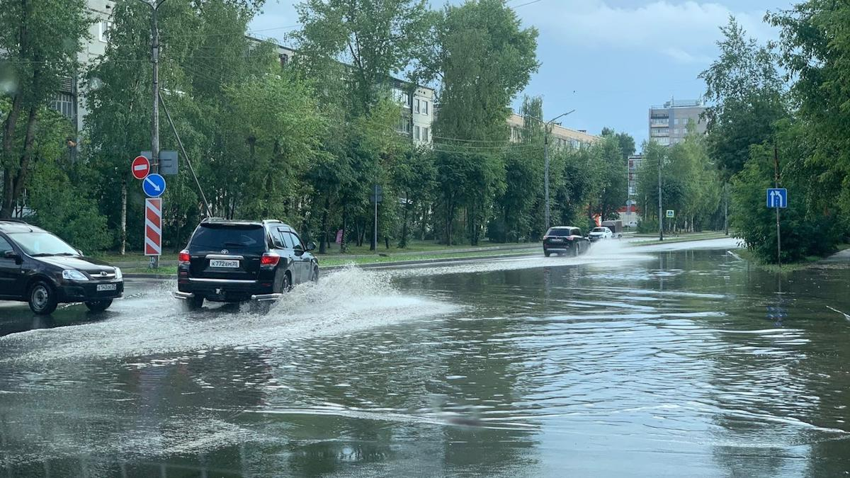 Сильный дождь прошел в Череповце