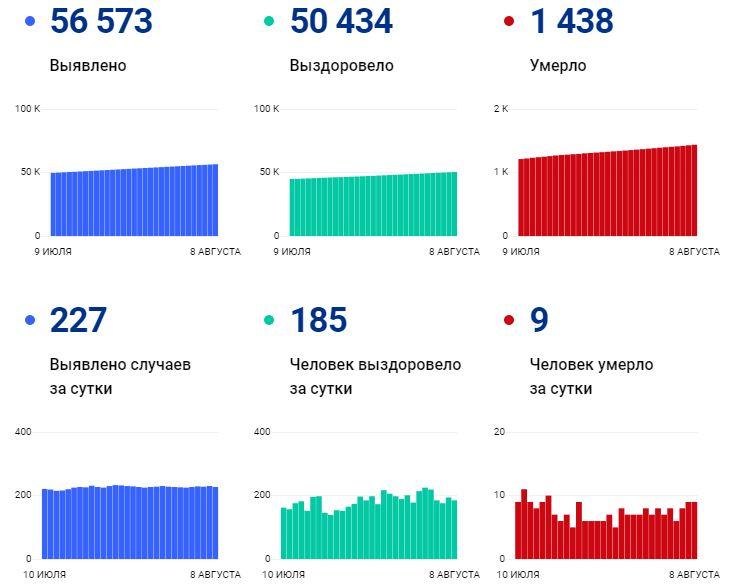 Статистика по коронавирусу на 8 августа