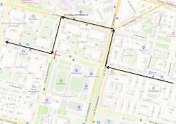 Схема движения маршрутов №2 и №8 (прямое направление)