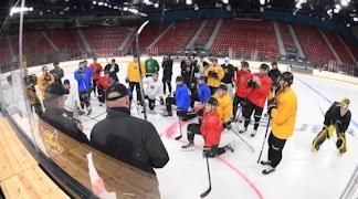 """Хоккейная площадка в череповецком Ледовом дворце стала """"канадской""""."""