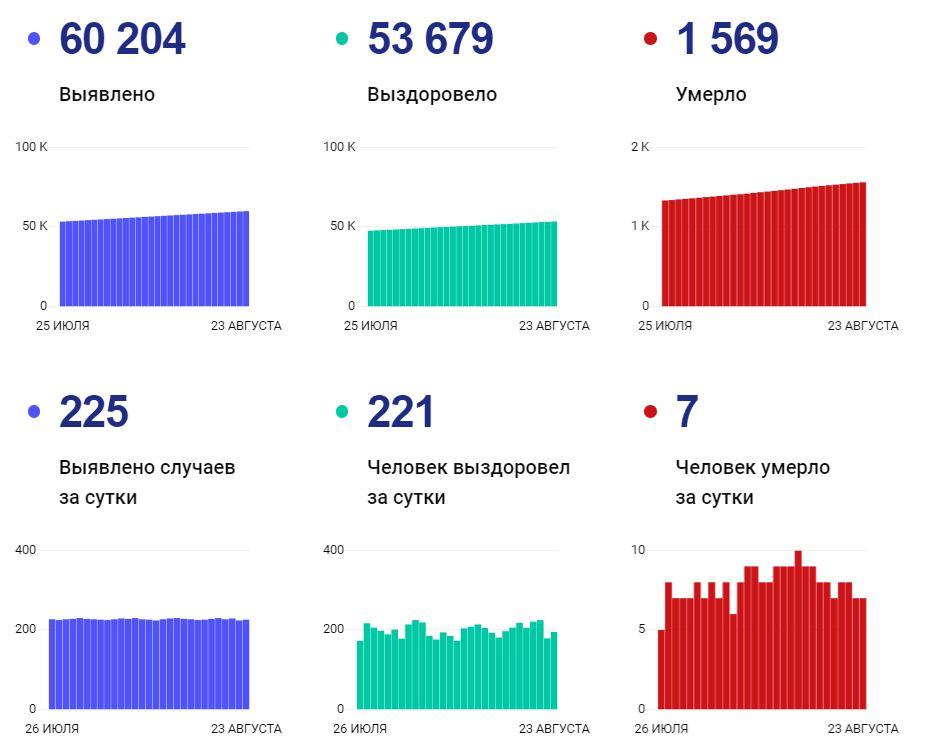 Статистка по коронавирусу на 24 августа