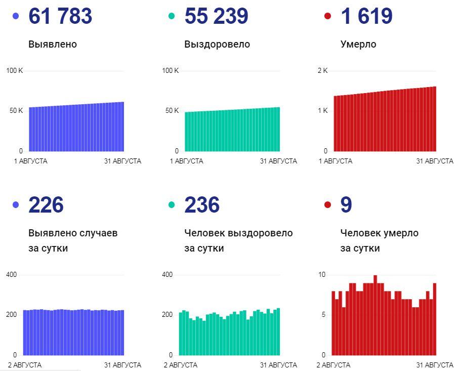 Статистика по коронавирусу на 31 августа