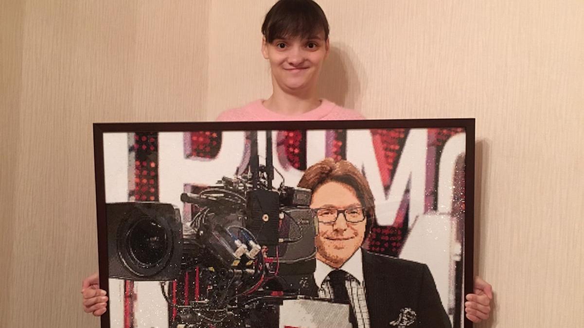 Портрет Андрея Малахова стразами выложила  вологжанка Анастасия Жужгина