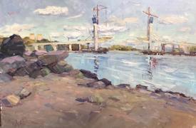 Совсем недавняя работа, написанная Антоном с оголившегося берега обмелевшей Шексны