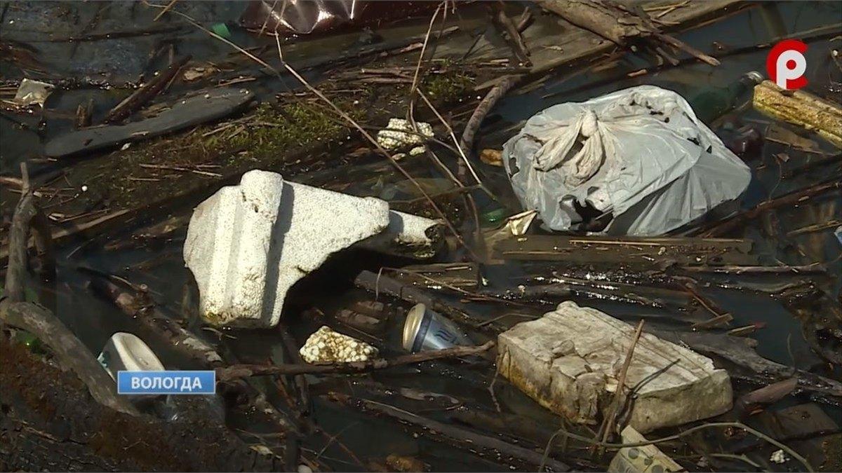 После паводка берега реки Вологды заполнились мусором