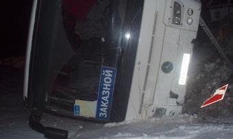 Автобус сдетьми изНижнего Новгорода перевернулся под Никольском