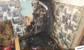 Пожар произошёл внеблагополучной квартире вЧереповце